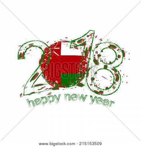 2018 Happy New Year Oman Grunge Vector Template For Greeting Card And Other.