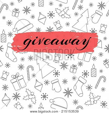 Giveaway vector card with Christmas line pattern