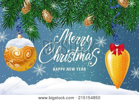 Merry Christmas and Happy New Year lettering with fir sprigs, cones, baubles and mantle of snow. Calligraphic inscription can be used for greeting card, festive design, posters, banners.