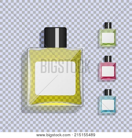 Transparent glass bottle with lotion. A set of lotions of different colors. Aftershave. After Shave Lotion. Tonic. Cologne. Micellar water. Flat vector illustration