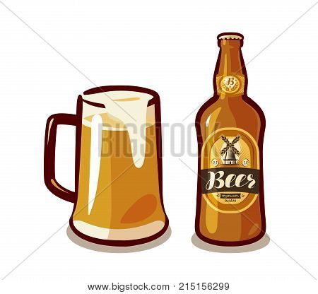 Mug of beer with foam, bottle light beer, ale or lager. Bar, pub, alcoholic beverages, drinks concept. Vector illustration