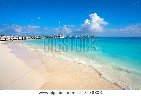 Riviera Maya Maroma Caribbean beach marina pier in Mayan Mexico