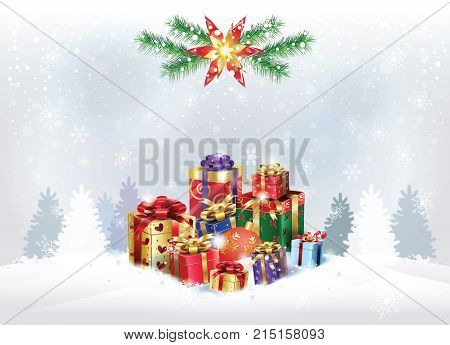 Hello Winter Christmas, New Year Holiday greeting poster, snowy landscape with gift boxes, presents, reindeer, fir tree forest, snow mountain, defocus blurred snowflakes, bokeh lights snowfall background, Christmas Boxing Day Sale concept vector template.