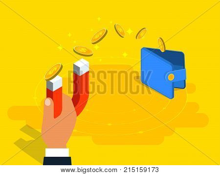 Money Transfer From Wallet To Magnet In Isometric Vector Design. Accumulation, Earning Or Making Mon
