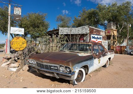 November 10, 2015 Hackberry, Arizona,USA: rusty vintage sheriff's car exhibited at Hackberry General Store on the scenic Route 66.