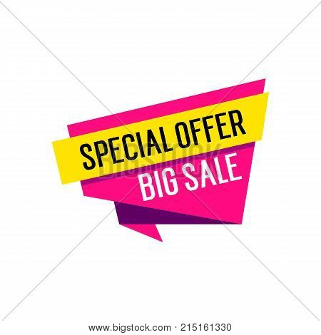 Big sale special offer lettering on origami speech bubble. Inscription can be used for leaflets, posters, banners.