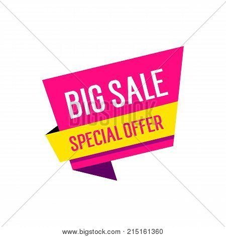 Big sale and special offer lettering on origami speech bubble. Inscription can be used for leaflets, posters, banners.