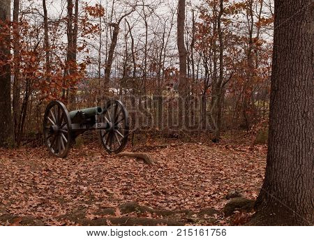 A Civil War cannon in the fall at Gettysburg
