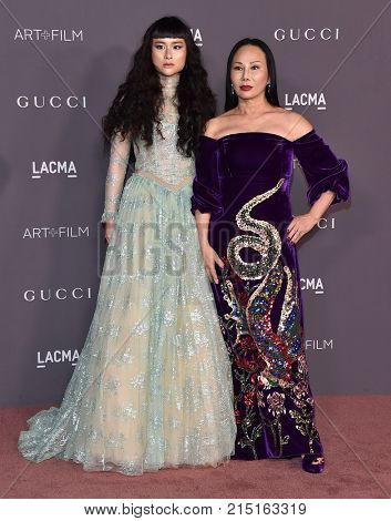 LOS ANGELES - NOV 04:  Asia Chow and Eva Chow arrives for the 2017 LACMA Art + Film Gala on November 04, 2017 in Los Angeles, CA