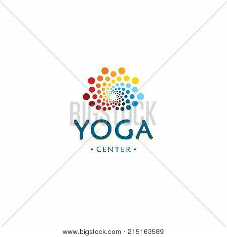 Yoga center logo. Abstract lotus beauty flower. Round digital shape. Colorful circles vector logotype