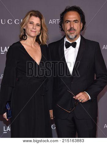 LOS ANGELES - NOV 04:  Alejandro Gonzalez Inarritu and Maria Hagerman arrives for the 2017 LACMA Art + Film Gala on November 04, 2017 in Los Angeles, CA