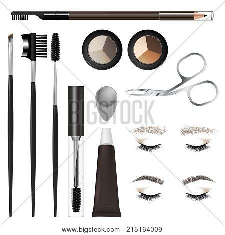 A Set Of Tools And Accessories For The Care Of The Eyebrows.