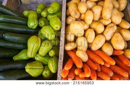 Mexican market vegetables carrot potatoes cucumbers and Chayote squash