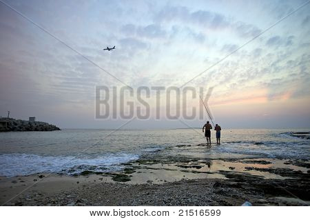 Sunset Fishing At Raouche Bay, Beirut, Lebanon
