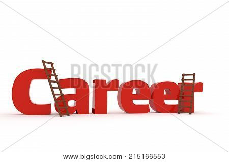 The word career with two ladders on a white background business concept image 3d rendering