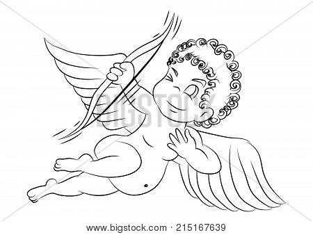Cute Cupid with a bow line work