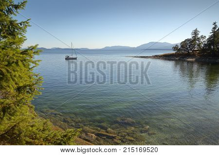 Gulf Islands Anchorage, British Columbia, Canada. A calm anchorage in the Gulf Islands, British Columbia.