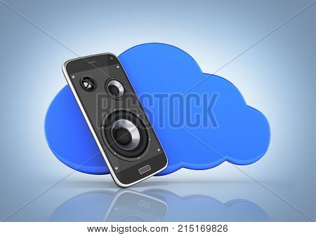 Concept Of Cloud Storage Smartphone With Cloud Storage App On Blue Gradient Background 3D