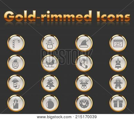 christmass gold-rimmed icons for your creative ideas