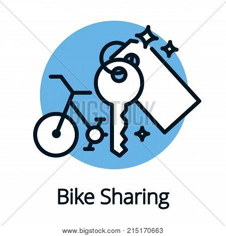 Bike sharing, share economy for better ecology concept isolated vector