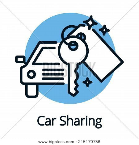 Vehicle or car sharing, share economy concept outline design vector