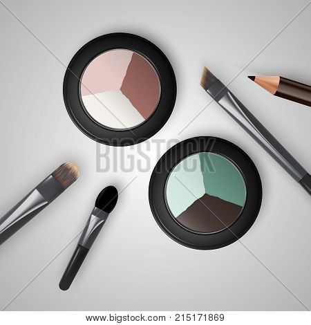 Set Colored Pallets With Eye Shadows, Brushes For Eye Makeup And Eyeliner.