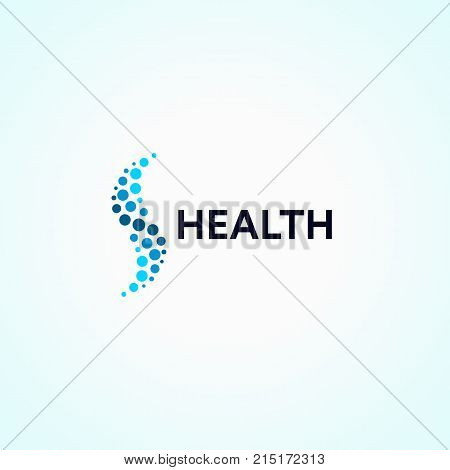 Abstract monotonous logo from circles in the form of a wave. Spine, a healthy lifestyle vector logotype.