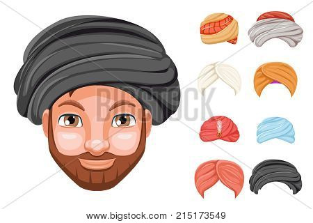 Photo decoration turban fashion headdress arab indian culture sikh sultan bedouin cute man beautiful head hat isolated icons set cartoon design video chat effects portrait mobile phone vector illustration.