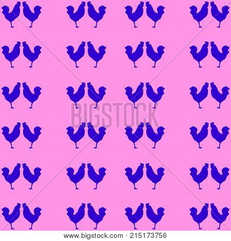 Animal pattern: a blue cock silhouette in profile, standing on one leg. Pink background. Stylish youthful bright print.