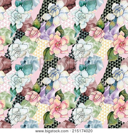 Wildflower gardenia flower pattern in a watercolor style. Full name of the plant: gardenia . Aquarelle wild flower for background, texture, wrapper pattern, frame or border. poster
