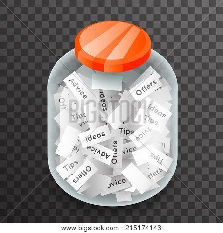 Isometric Glass Pot Advice Jar Offer Idea Transparent Background Mockup Icon 3d Realistic Design Vector Illustration