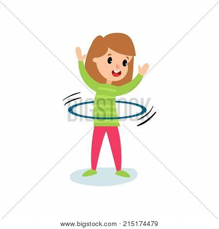 Smiling little girl character spinning a hula hoop around the waist, kids physical activity cartoon vector Illustration isolated on a white background