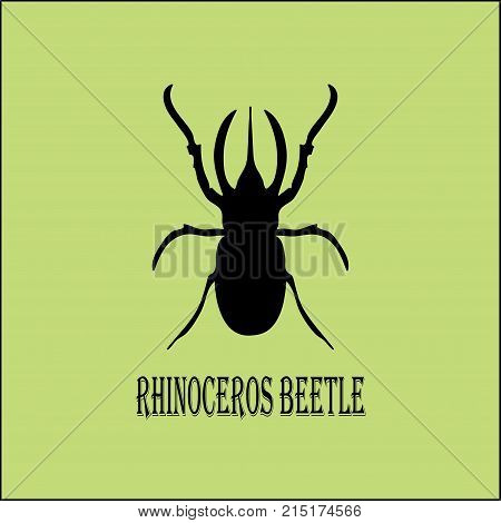Vector image - black silhouette of rhinoceros beetle on pistachio background. Clear beautiful symmetrical stencil of a large insect.
