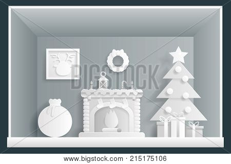 Paper Art Cristmas Room New Year House Greeting Card Elements Design Flat Template Vector Illustration