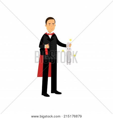 Magician in an elegant black suit and red cape showing trick with white rabbit, circus performer vector Illustration isolated on a white background