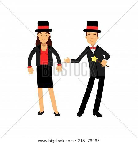 Magician with magic wand and his female assistant in elegant black suit and top hat, circus performers vector Illustration isolated on a white background
