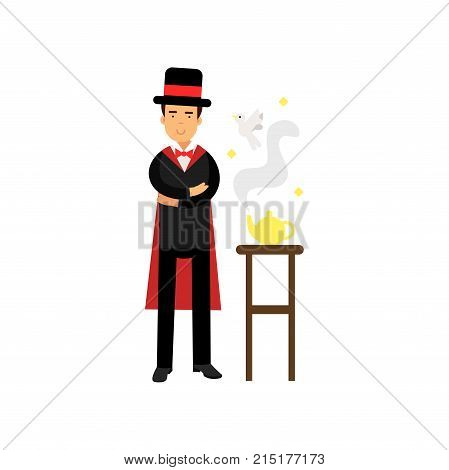 Magician showing a trick with a magic lamp, circus performer vector Illustration isolated on a white background