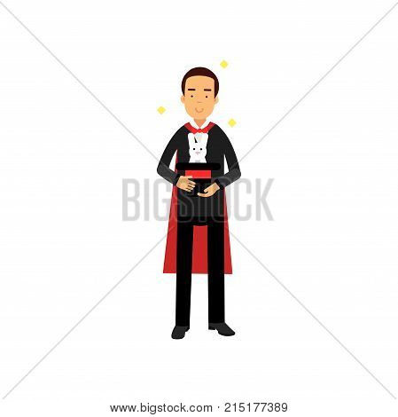 Magician in an elegant black suit and red cape performing trick with white rabbit appearing from top hat, circus performer vector Illustration isolated on a white background