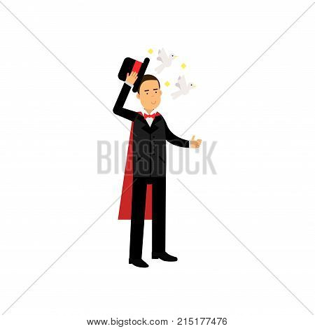 Magician in an elegant black suit performing trick with doves flying from top hat, circus performer vector Illustration isolated on a white background