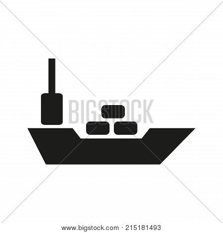 Simple icon of container ship. Freight, cargo ship, barge. Shipment concept. Can be used for topics like transportation, cargo shipping, logistics