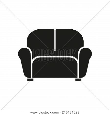 Simple icon of couch. Resting place, lounge, sofa. Mall wayfinding concept. Can be used for topics like furniture, comfort, business