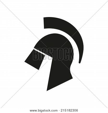 Simple icon of spartan helmet. Ancient history, armor, army. School classroom concept. Can be used for topics like history, Greece, mythology