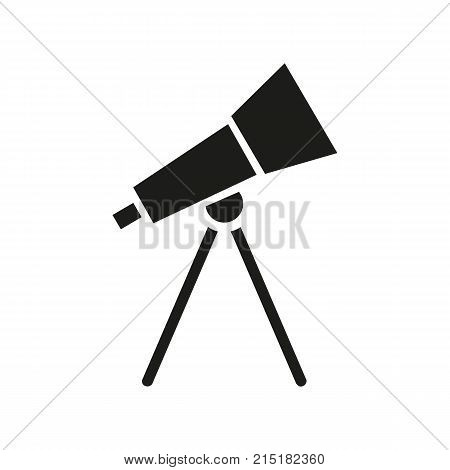 Simple icon of telescope. Astronomy, exploration, planetarium. School classrooms concept. Can be used for topics like space, education, science
