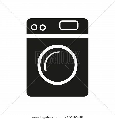 Simple icon of washing machine. Laundry, household appliance, housework. Mall wayfinding concept. Can be used for topics like service, housekeeping, technology