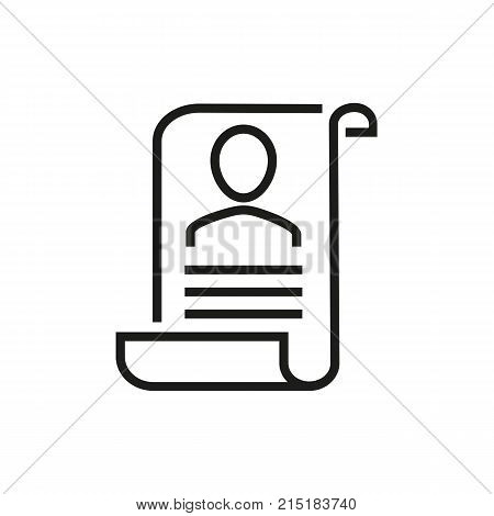Document with image of person. CV, folder, profile. Recruitment concept. Can be used for topics like head hunting, employment, work search.