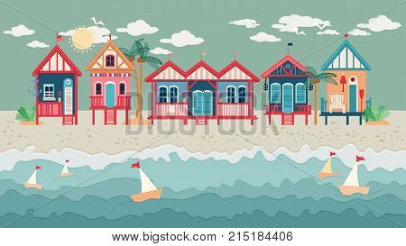 Landscape with Beach Huts in a Row. Vector illustration