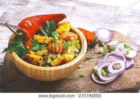 Indian Cuisine. Paneer Tikka Kabab. Asian Salad. Horizontal View