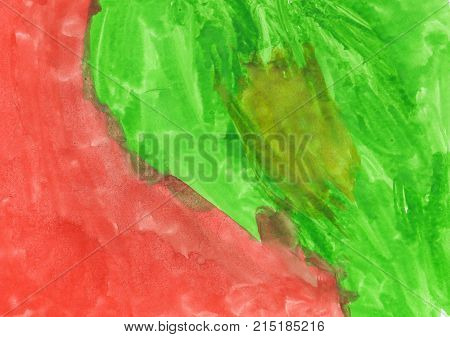 Green and red abstract aquarel watercolor background