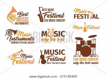 Set of isolated badges for audio or sound instruments. Banners with musical accessories saxophone or sax, acoustic guitar and violin, lyre and drum set or kit. Concerts and performance theme