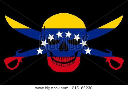 Pirate Flag Combined With Venezuelan Flag